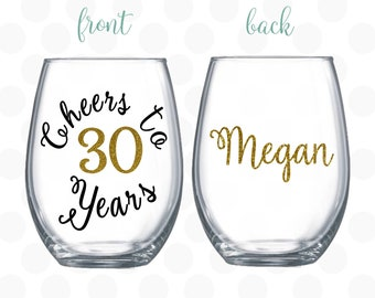Cheers To 30 Years 30th Birthday Gift For Women Old Turning Wine Glass Her