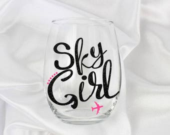 flight attendant gift, flight attendant graduation gift, Flight attendant wine glass, 20 oz