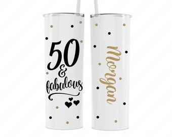 Personalized 50th birthday travel gifts for women, 50 and Fabulous travel mug tumbler name, 50th birthday gift, 50th birthday gift for her