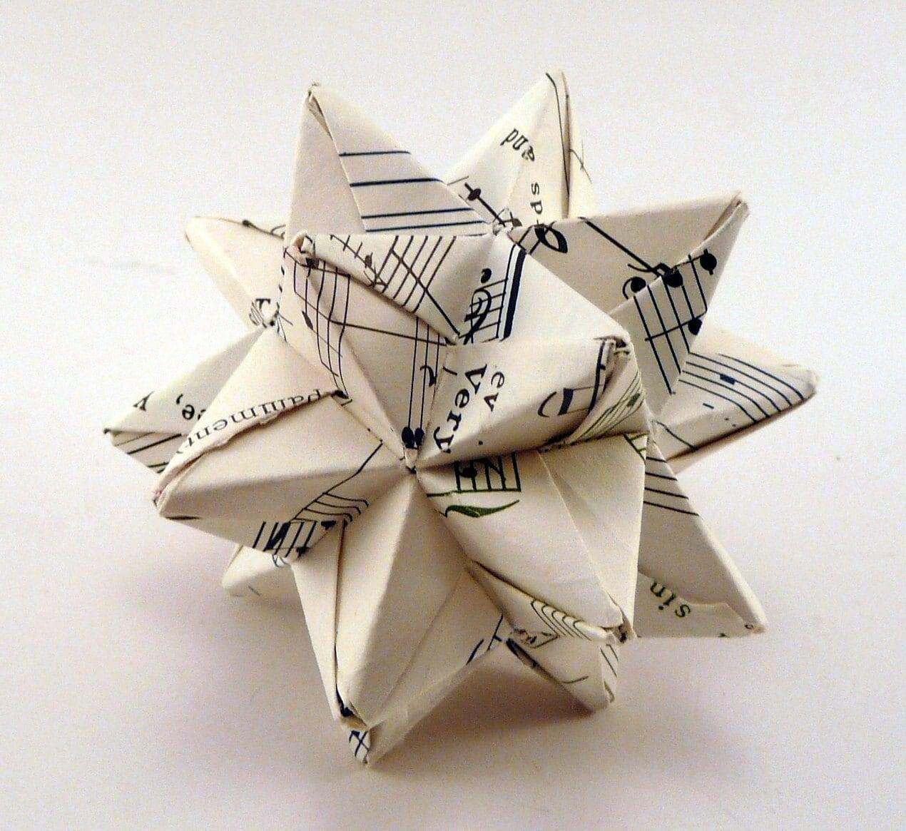 Small Music Star Ornament Christmas Ornament Origami Star ...