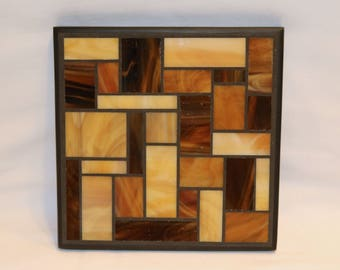 Amber Stained Glass Mosaic Trivet
