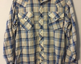 M Williams Western Button Down Dress Shirt Vintage Longhorn R