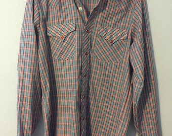 70s Men/'s XL SEARS Western Wear 17-17 12 Light Yellow with Green Roses Vintage Western Pearl Snap Dress Shirt Cowboy Long Dagger Collar
