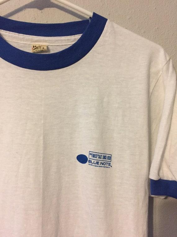 Vintage 1980s Blue Note Jazz Label Ringer T-Shirt