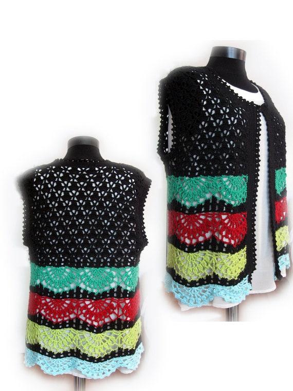 Gilet Crochet Gilet Femme Gilet Boho Crochet Gilet Rayé Etsy