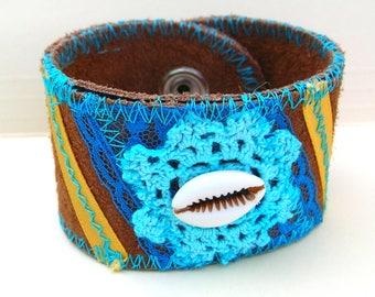 Boho Bracelet - Suede Hippie Bracelet - Rustic Boho Cuff Braceletsr - Bohemian Bracelet - Christmas Gift Idea for Girlfriend - Customizable