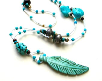 Bohemian Feather Necklace - Long Bohemian Necklace - Turquoise Colored Beads - Boho Jewelry