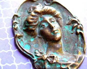 Brass Stamping - Antiqued Brass - Cameo Stamping - Gibson Girl - Brass Cameo - Art Nouveau Stamping - Green Patina