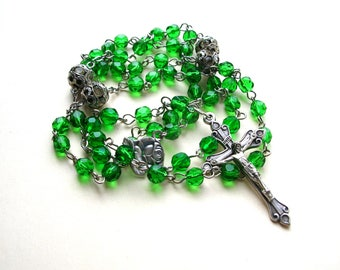 Catholic Rosary Beads - Emerald Green Glass Rosary - Prayer Beads - Green Rosary