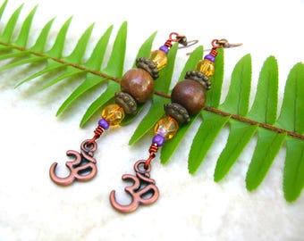 Ohm Earrings - Bohemian Earrings - Yoga Jewelry - Handmade