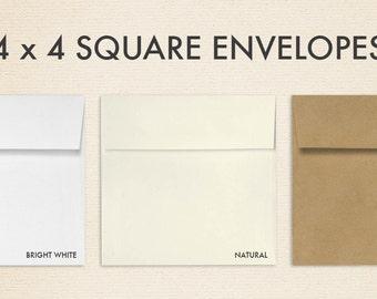 4 x 4 Square Envelopes w/Peel & Press - Pick A Color (50 Qty.)