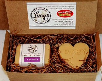 Baby Heart and Lavender Hand Bar Shower Gift Set Handcrafted French Milled Goat Milk Soap