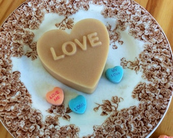 Valentine's Day Gift of Love Message Heart French Milled Goat Milk Soap