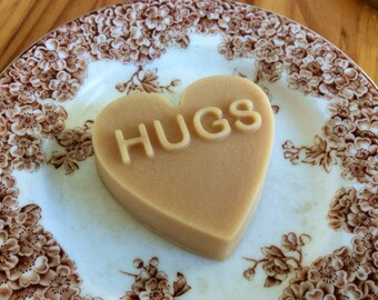Hugs Handcrafted French Milled Goat Milk Soap Message Heart Valentine's Gift for Husband, Boyfriend, Friend and Family