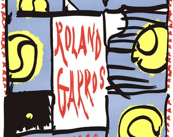 Roland Garros TENNIS ART PRINT 1992 by Jan Voss ORIGINAL POSTER