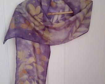 Unique Eco printed scarf on 100% peace silk