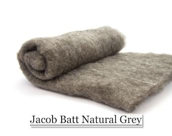 Jacob Batt - Natural Grey - Spinning Fiber - Felting Fiber - 200 grams