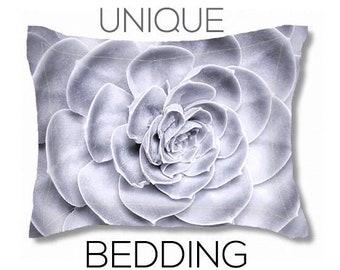 Pillow Sham | Standard & King Pillow Sham | Succulent Print | Custom Bedding | Wedding Gift | Black and White Pillow Sham | Duvet Set