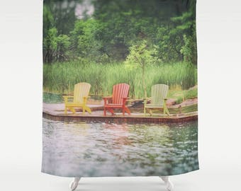 Adirondack Chair Print Shower Curtain | Extra Long Shower Curtain | Lake  House Decor | Shower Curtain | Custom Bathroom Accessories