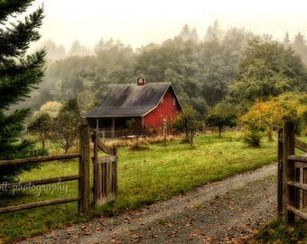 Red Barn Photograph | Farm Print | 8x12 Pacific Northwest Art | Rustic Wall Decor | Home Decor | Landscape Photography | New Home Gift