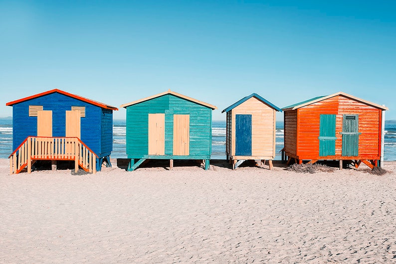 Muizenburg Beach Print  Ocean Art  Colorful Cabanas Wall image 0