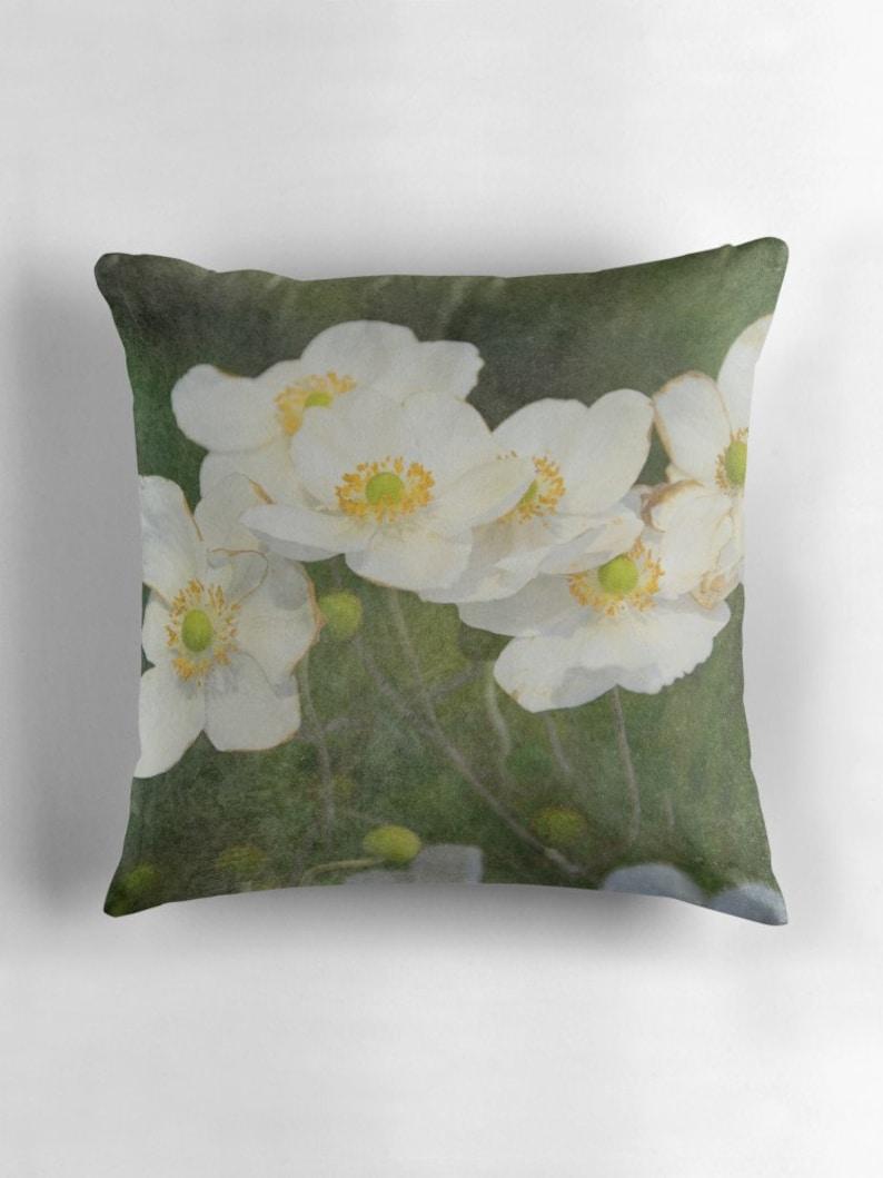 Floral Decorative Pillow  White Blossoms Accent Pillow  image 0