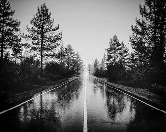Rainy Rural Road Photography | Pacific Northwest Landscape | Black & White | Moody, Misty | Landscape Art | Wild Quiet Places