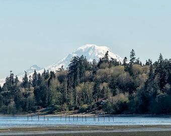 Pacific Northwest Landscape | Rainier Peek-A-Boo Mountain Photography | Bainbridge Island View | Washington Volcano