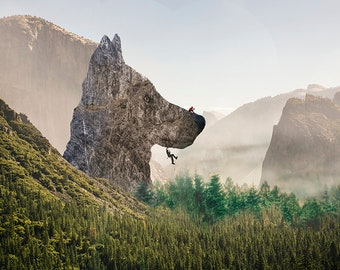 Pacific Northwest Art | Surreal Landscape Print | Wolf Mountain | Rock Climbing Dream | Photo Gift for Him | Magical Mountain