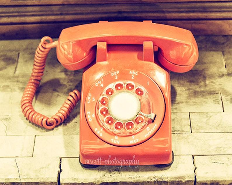 Telephone Photograph  Vintage Phone Art  Mid Century Orange image 0