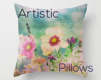 Wild Flowers, Field of Flowers, Fine Art photography Printed Accent Pillow Throw Pillow Cover  Patio Cushions Home & Office Decor