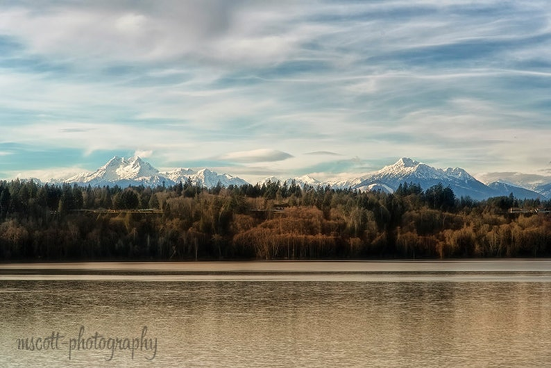 Pacific Northwest Landscape  Snowy Olympic Mountains image 0