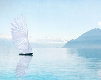 Blue Sailboat | Hummingbird Wing Sail | Pacific Northwest Art | Surreal Landscape Print | Photo Collage | Magical Serenity