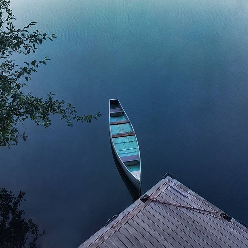 Lake House Decor  Blue Lake Canoe  Zen Nature Photography  image 0