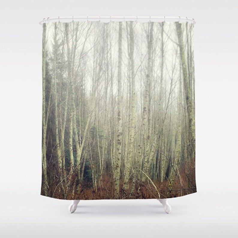 Shower Curtain Aspen Trees Print Rustic Woodland Photo