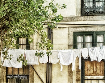Portugal Urban Living  Laundry European Wash Day  Travel Photography   Home & Office Decor  fpoe