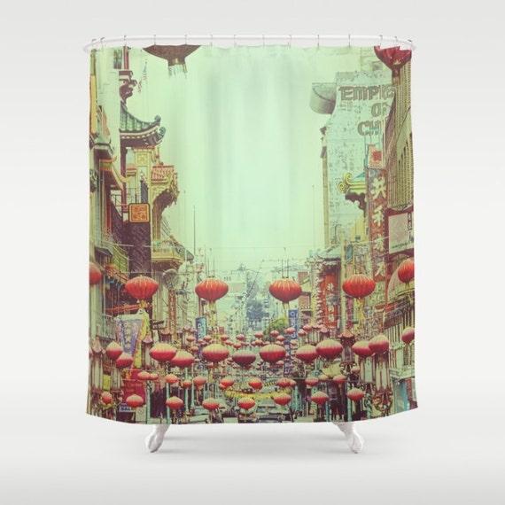Photo Shower Curtain Chinese Red Lanterns Custom