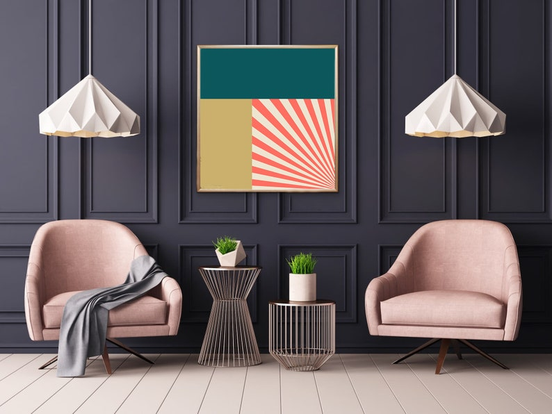 Geometric Print Teal Coral and Gold Wall Decor  Modern image 0