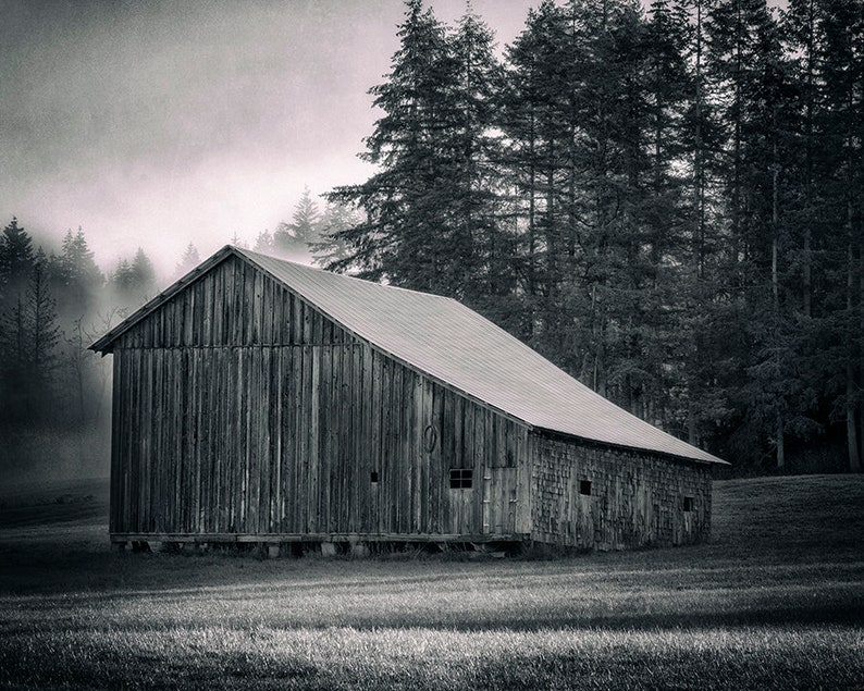 Bellingham Barn Photograph  Rural Art  Pacific Northwest image 0