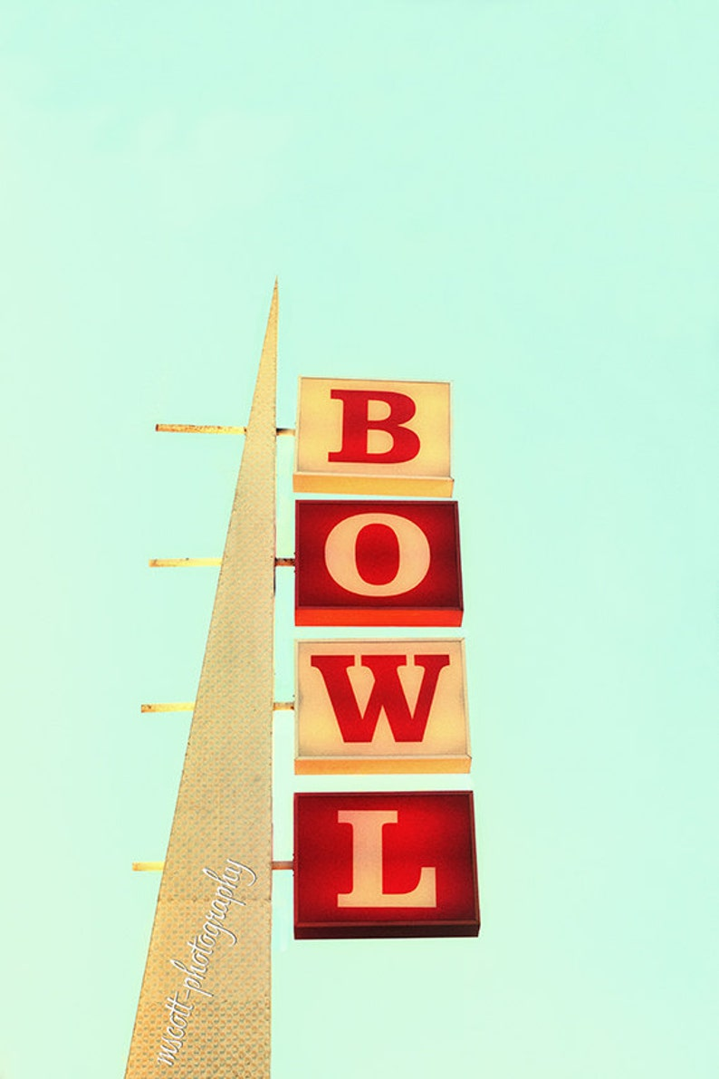 Bowling Sign  Retro Venice Beach  Red White & Blue Poster image 0