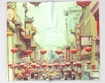 Chinatown Red Lanterns Photo Printed Throw Blanket |  San Francisco Chinatown Art Print | Fleece Blanket | Sofa Throw | Custom Blanket