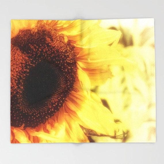 large sunflower print plush fleece blanket floral blanket etsy