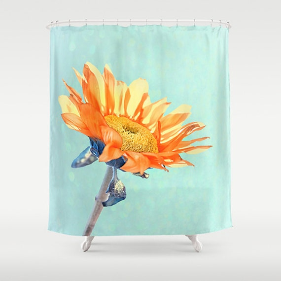 Photo Printed Shower Curtain Sunflower Print Sunshine