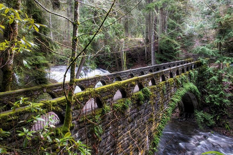 Whatcom Falls Bellingham WA  Romantic Stone Bridge  Nature image 0