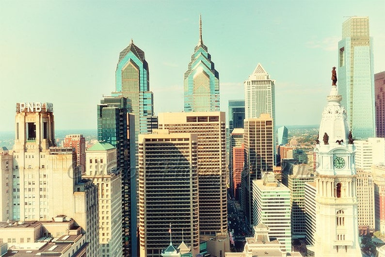 Philly Wall Art Wedding Gift Canvas Art Large Wall Art Philadelphia Landmarks Philadelphia Skyline Photograph