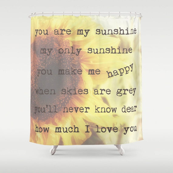 You Are My Sunshine Typography Yellow Bath Decor sunflower shower curtain