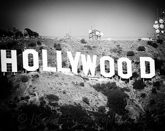 Hollywood Sign Photograph | Black and White Photography | Travel Photography | Modern Urban Landscape | LaLa Land | Home & Office Decor