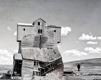 Moody Landscape | Washington Palouse Region Granery | Rural America | Black & White Farmhouse Chic | Cabin Decor
