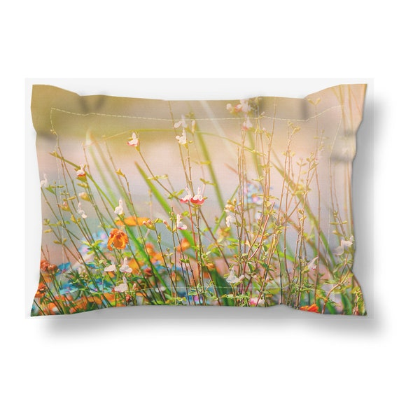 Field Of Wildflowers Photography Printed Pillow Sham Floral Etsy