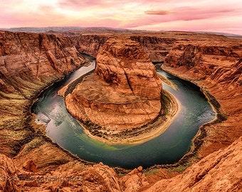 Horseshoe Bend Sunset Photograph | Page Arizona Landscape Print | Colorado River Landscape | Southwest Travel Photography | Wall Art